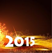 vector beautiful background of new year 2015 with shiny star and wave