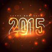 glowing golden 2015 design with transparent circles at the back