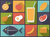 Everyday Food icons vector illustration. Flat design illustration with a variety of daily food icons
