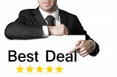 Businessman Pointing On Sign Best Deal