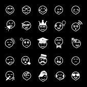 Face Action Line Icons On Gray Background
