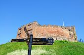 Tamworth castle and signpost.