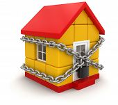 House and lock (clipping path included)