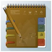 Organize Notebook With Pencil Business Infographic