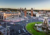 Aerial View On Placa Espanya And Montjuic Hill With National Art Museum Of Catalonia, Barcelona, Spa