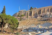 Parthenon And Theater Of Dionysus On The Southwest Slope Of The Acropolis In Athens, Greece