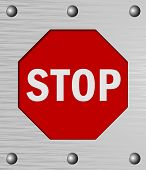 Stop sign with metallic frame