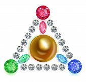 Equilateral Triangle Composition Colored Gems Set