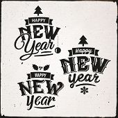 Happy New Year Set Of Typographic Design