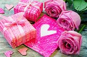 Valentine's Background With Gifts, Flowers And Card