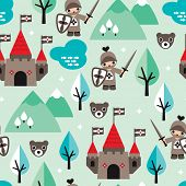 Seamless little knight and castle retro style fantasy woodland illustration kids background pattern in vector