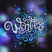 Winter abstract hand lettering