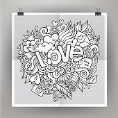 Vector template poster with Love hand lettering and doodles elem