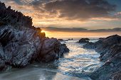 Sunset On Whitsand Bay In Cornwall