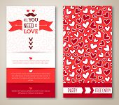 Beautiful greeting or invitation cards with heart pattern.