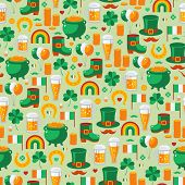 Patrick's Day seamless pattern with traditional symbols.