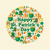 Happy Patrick's Day Text Concept with Flat Lovely Icons Arranged in Form of Circle.