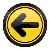 left arrow icon, yellow logo, arrow sign