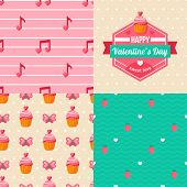 Seamless patterns of Valentine symbols and label Happy Valentine's Day.