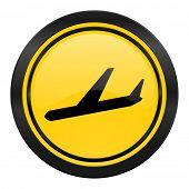 arrivals icon, yellow logo, plane sign