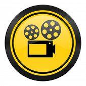 movie icon, yellow logo, cinema sign