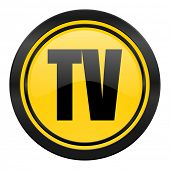 tv icon, yellow logo, television sign