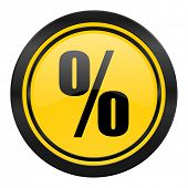 percent icon, yellow logo