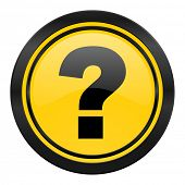 question mark icon, yellow logo, ask sign