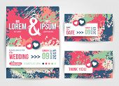 Save The Date and Wedding Invitation Cards With Paint Splashes.