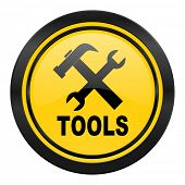 tools icon, yellow logo
