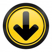 download arrow icon, yellow logo, arrow sign
