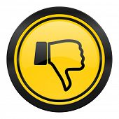 dislike icon, yellow logo, thumb down sign