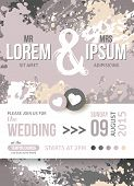 Save The Date or Wedding Invitation Card With Paint Splashes.