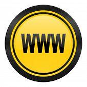 www icon, yellow logo