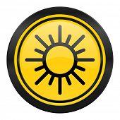 sun icon, yellow logo, waether forecast sign