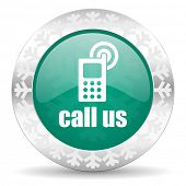 call us green icon, christmas button, phone sign