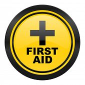 first aid icon, yellow logo
