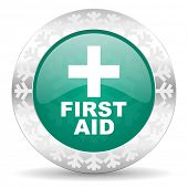 first aid green icon, christmas button