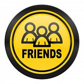 friends icon, yellow logo