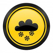 snowing icon, yellow logo, waether forecast sign