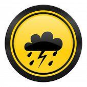 storm icon, yellow logo, waether forecast sign