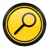 search icon, yellow logo