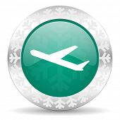 deparures green icon, christmas button, plane sign