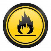 flame icon, yellow logo