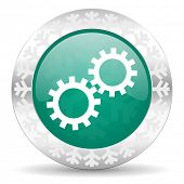 gears green icon, christmas button, options sign
