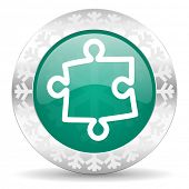 puzzle green icon, christmas button