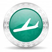 arrivals green icon, christmas button, plane sign