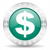 dollar green icon, christmas button, us dollar sign