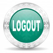 logout green icon, christmas button