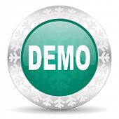 demo green icon, christmas button